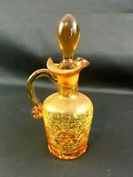 "Vintage Amber Crackle Glass 7"" Cruet with Stopper"