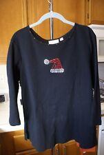 QUACKER FACTORY Black w/ Rhinestone Santa Hat 3/4 Sleeve Tee Shirt Size L NWOT
