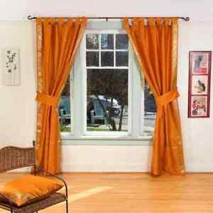Indo Mustard  Tab Top Sari Sheer Curtain (43 in. x 84 in.) with matching tieback