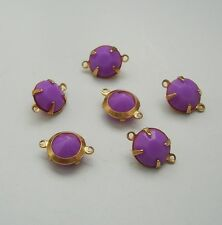 6-Purple Acrylic Rhinestone  Brass Prong Setting   Connector Open Back 2 Rings