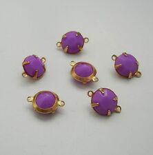 6-Purple Acrylic Rhinestone  Brass Prong Setting   Connector Open Back 2 Rings