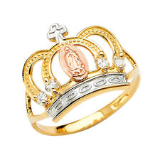Her Real 14k Tri Tone Gold CZ Religious Virgin Mary Queen Guadalupe Cross Ring