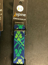 "Lupine MAGIC SHAMROCK collars and leashes in 3/4"" and 1"" Green + Blue microbatch"