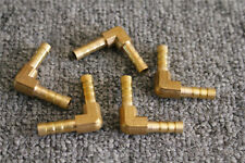 """5Pcs Brass Pipe Fitting Gas Fuel Water 1/4"""" (6 mm) HOSE BARB ELBOW 90 DEGREE"""