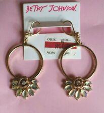Glitter Rose Faceted Stone Hoops Betsey Johnson Earrings Luminous Betsey