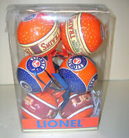 """LIONEL TRAINS 6 PACK CHRISTMAS ORNAMENTS Bulbs 3"""" INCH 9-21014 Holiday 2013 NEW"""