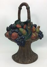 "Vintage Fruit Basket Door Stop marked #409~10.25"" Tall~5.6 Lbs Cast Iron~"