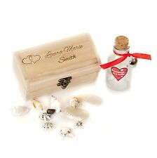 Personalised Engraved Treasure Chest Message in a Bottle Valentines Day 15cm