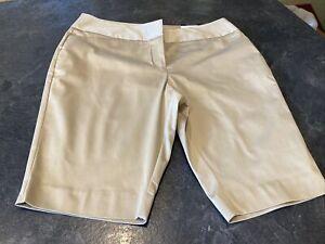 Women's Worthington Modern Fit Khaki Gold Chino Bermuda Shorts Size 12 - NWT