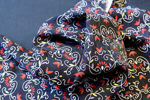 Japanese Silk Black with Red, Purple, Yellow Flowers 1013a