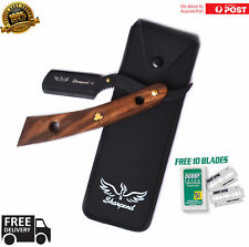 WOODEN BARBERS CUT THROAT RAZOR SET COMPLETE WITH 10 BLADES AND POUCH