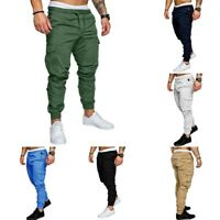 Men's Pants Jogger Straight Trousers Fit Cargo Slim Leg Urban Casual Pencil New