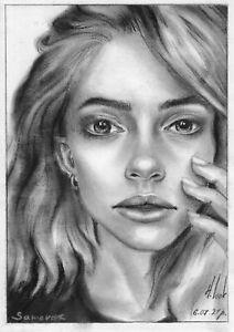 original painting A5 255LN art samovar oil dry brush female portrait Signed 2021