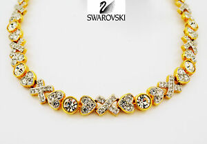 VINTAGE Swarovski SIGNATURE Jewelry Necklace HUGS LOVE & KISSES -152469