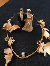 ANTIQUE WEDDING CAKE TOPPER Bride Groom 1920-30's Floral Bell Decorative Piece
