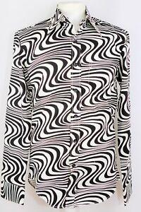 CHENASKI Wavyline 60s 70s Style Pattern Shirt Black/Cream Retro Inspired