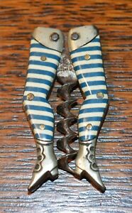RARE Antique German MIni celluloid ladies' striped legs folding Corkscrew