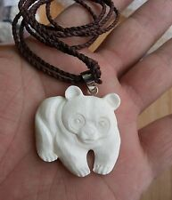 Walking Panda Buffalo Bone Hand Carving Pendant w/ Sterling Silver Bale Necklace