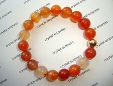 FENG SHUI - 10MM CARNELIAN MALA BRACELET WITH GOLD BEAD
