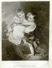 "Engraving from Graham etc. ""PROFERRED KISS""- 1840-60"
