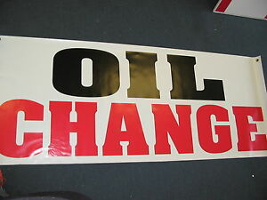 OIL CHANGE Banner Sign NEW Larger Size for Car Wash Shop Lube filter
