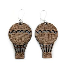 Hot Air Balloon Earrings Quirky Wooden Steampunk Christmas Stocking Filler Gift
