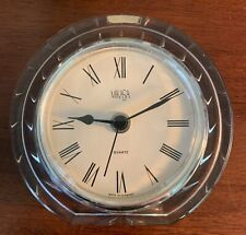 "Mikasa CRYSTAL QUARTZ DESK CLOCK 5""x5"" Made In Austria 2 Pounds New Battery"