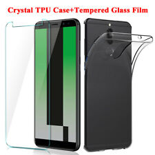 Clear Silicone Back Case Cover+Tempered Glass Film for Huawei Mate10 Lite P10 P9