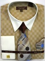 Men's Dress Shirt Tie Hanky Set Light Brown/Ivory Checks Cuff Links French Cuff