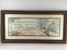 """Framed Picture Bible Scripture Joshua 24:15 Wall Art """"Will Serve The Lord"""" 10X20"""