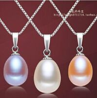 100% Genuine White real Freshwater 8-9mm round Pearl Pendant Necklace Nice Lady