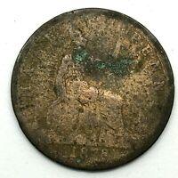 1878 GREAT BRITAIN VICTORIA 1/2 PENNY BRONZE COIN - RARE DATE  KM# 754.