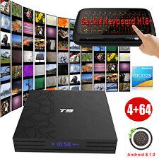 4GB+64GB New Android 8.1.0 Oreo TV BOX Quad Core 4K Sports WIFI BT Keyboard H18+