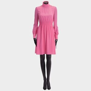 VALENTINO 2700$ New SS18 Silk Pink Longsleeve Roll Neck Dress