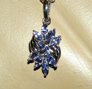 GENUINE TANZANITE PENDANT STYLE NECKLACE   PLATINUM OVER .925 STERLING SILVER