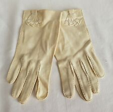 Vintage Off White Cream Suede-Like Fabric Ladies Dress Gloves with Buttons
