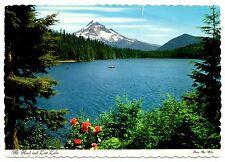 Mt Hood Lost Lake Postcard Oregon Canoe Vintage 1972 Posted Snow Trees Flowers