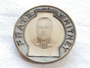 vintage pratt whitney whitehead roag employee badge pin