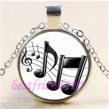 Black Music Note Photo Cabochon Glass Tibet Silver Chain  Pendant Necklace#CD2