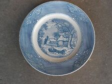 Vintage Mount Clemens Ironstone DINNER PLATE USA  Flow Blue Winter Scene
