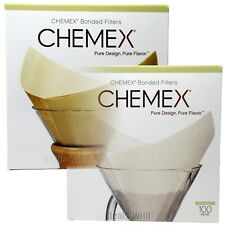 Chemex Coffee Filters FS-100 Or FSU-100 Bonded Pre-folded Squares Brown or White