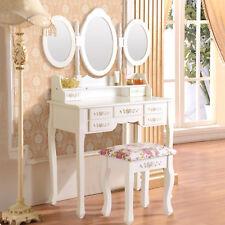 Modern 3 Mirrors 7 Drawers Vanity White Dressing Table Makeup Dresser Stool Set