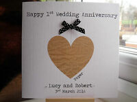 Modern Handmade Personalised 1st First Paper Wedding Anniversary Card
