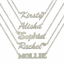 STERLING SILVER NAME NECKLACE WE MAKE ANY NAME PLATE BELCHER CHAIN GIFT BOXED