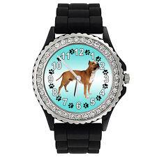 American Staffordshire Terrier Crystal Rhinestone Jelly Silicone Watch Sg39P