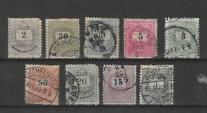 Stock Card of Early Hungary Stamps, 1880s