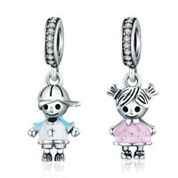 VOROCO Best Friend Girl and Boy Dangle Charm Sterling Silver Charm for Bracelet