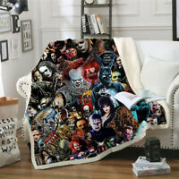 2020 New Cool Horror Movie 3D Print Sherpa Blanket Sofa Couch Quilt Cover Throw