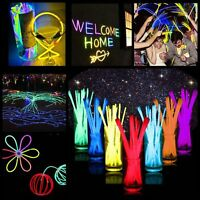 "200Pcs 8"" Premium Glow Sticks Bracelet Necklaces Neon Party Lights Multi-Colors"