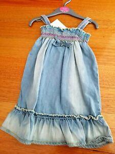 BABY GIR'LS DENIM SUMMER DRESS - SIZE 18 - 23 MONTHS - BNWT